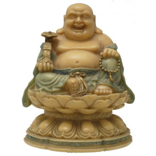 Βούδας καλοτυχίας-πλούτου πάνω σε λωτό