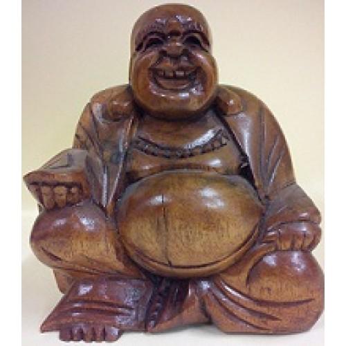 Γελαστός, τυχερός βούδας από ξύλο