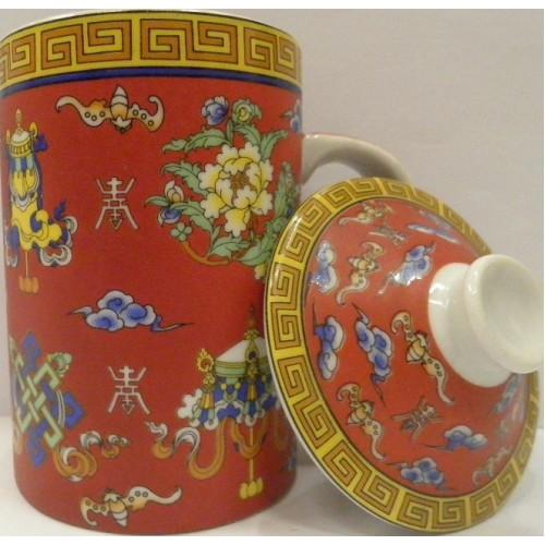 Κούπα κόκκινη πορσελάνινη με παραδοσιακά θιβετάνικα σύμβολα