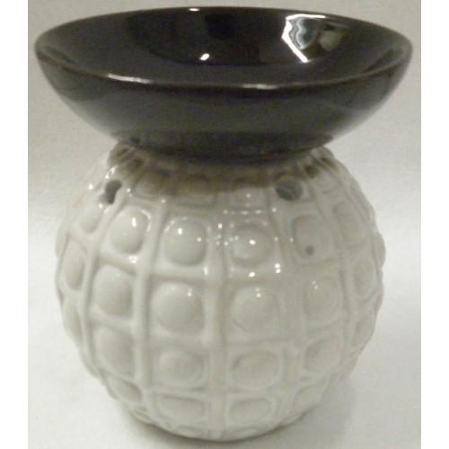 Συσκευή καύσης αιθέριων ελαίων κεραμική/ λευκή βάση,μαύρο πιατάκι
