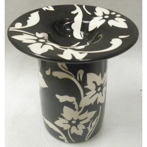 Συσκευή καύσης αιθέριων ελαίων κεραμική μαύρη με λευκά λουλούδια