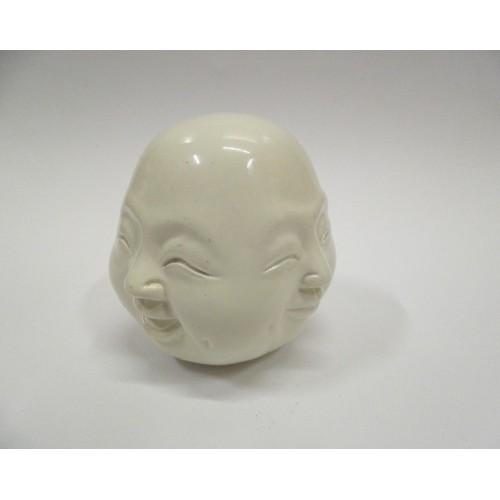 κεφάλι γελαστού βούδα με τέσσερα πρόσωπα, λευκό