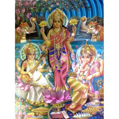 Κάρτα έγχρωμη Lakshmi, Ganesha, Saraswati