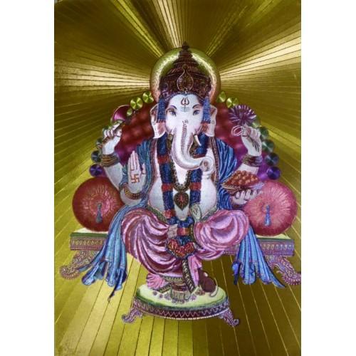 Κάρτα έγχρωμη Ganesha σε χρυσό φόντο