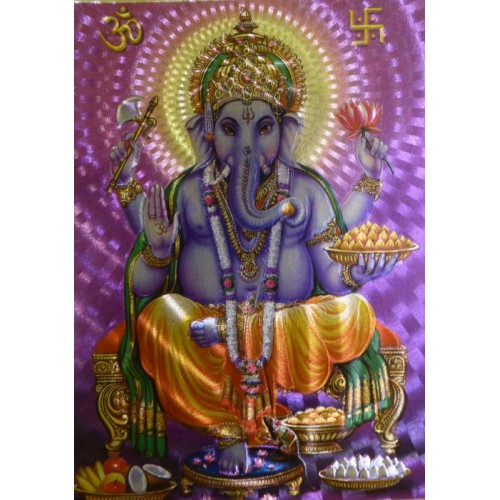 Κάρτα έγχρωμη Ganesha σε μωβ φόντο