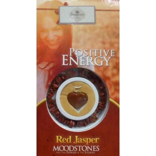 Σετ κόκκινος ίασπης μενταγιόν και βραχιόλι για θετική ενέργεια