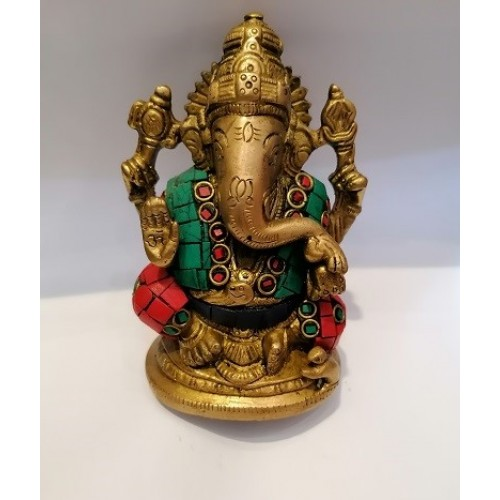 'Αγαλμα του θεού Γκανές με λίθους τυρκουάζ και κοράλλι