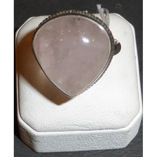 Δαχτυλίδι ασημένιο ροζ χαλαζίας