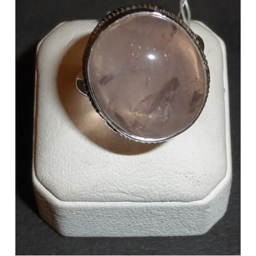 Δαχτυλίδι ασημένιο με ροζ χαλαζία στρογγυλό