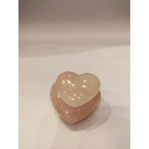 Διπλή καρδιά ροζ χαλαζία